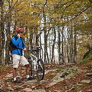 Mountain biker on the phone