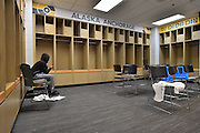 April 4, 2016; Indianapolis, Ind.; Christina Davis sits alone in the locker room following the team's 78-73 loss in the NCAA Division II Women's Basketball National Championship game at Bankers Life Fieldhouse.