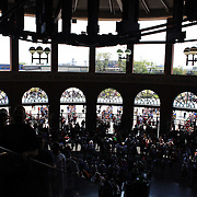 Fans arrive for the ball game inside the entrance of Citi Field before the New York Mets V San Francisco Giants Baseball game at Citi Field, Queens, New York. 21st April 2012. Photo Tim Clayton