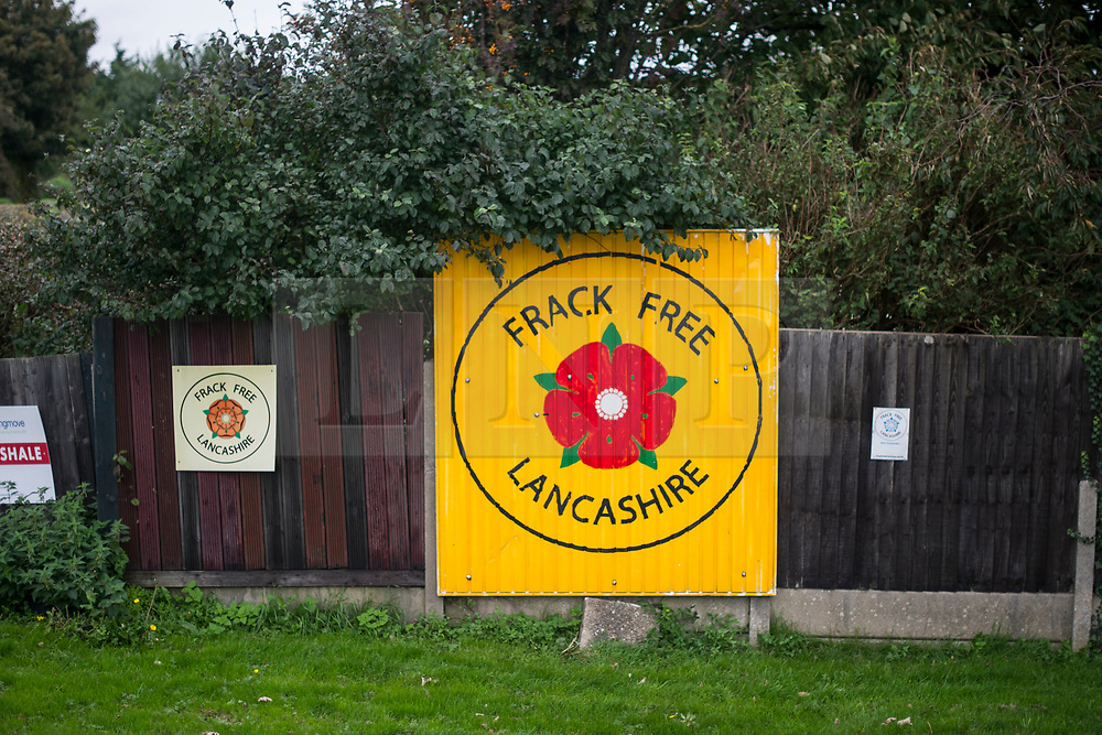© Licensed to London News Pictures. 09/10/2017. Lancashire, UK. A Frack Free Lancashire banner near the Anti-Fracking Demonstration on Preston New Road Lancashire at the entrance to Cuadrillas Hydraulic fracking. The demo brought together activists from Greenpeace, The Green Party and the local community to protest against the drilling taking place at the site.  Photo credit: Steven Speed/LNP