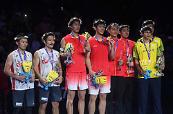 NANJING, Aug. 5, 2018  Gold medalists Li Junhui (3rd L) and Liu Yuchen (4th L) of China and silver medalists Takeshi Kamura(1st L) and Keigo Sonoda (2nd L) of Japan, bronze medalists Zhang Nan (4th R) and Liu Cheng (3rd R) of China, bronze medalists Chen Hung Ling (2nd R) and Wang Chi Lin of Chinese Taipei pose for a group photo during the awarding ceremony for the men's doubles final at the BWF (Badminton World Federation) World Championships 2018 in Nanjing, capital of east China's Jiangsu Province, Aug. 5, 2018. (Credit Image: © Xinhua via ZUMA Wire)