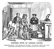 """Crowded State of Lodging Houses. Lodging-housekeeper. """"On'y this room to let, mem. A four-post - a tent -  and a very comfortable double-bedded chest of drawers for the young gentleman."""""""