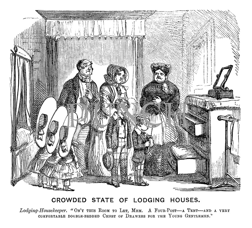 "Crowded State of Lodging Houses. Lodging-housekeeper. ""On'y this room to let, mem. A four-post - a tent -  and a very comfortable double-bedded chest of drawers for the young gentleman."""