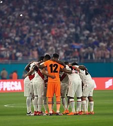 March 23, 2018 - Miami Gardens, Florida, USA - Peru players get together before a FIFA World Cup 2018 preparation match between the Peru National Soccer Team and the Croatia National Soccer Team at the Hard Rock Stadium in Miami Gardens, Florida. (Credit Image: © Mario Houben via ZUMA Wire)