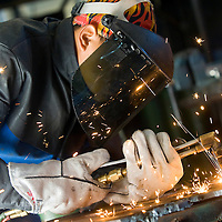 021213       Brian Leddy<br /> Therman Thomas practices welding in his beginning welding class at Navajo Technical College Tuesday. The school has over 60 students in the Construction Technology program.