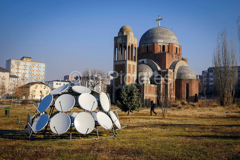 Christ the Saviour Serbian Orthodox Cathedral is an unfinished Serbian Orthodox Church on the campus of the University of Pristina, the construction was interrupted by the Kosovo war and it has never been completed. Pristina, Kosovo.  Photographed on the 13th of December 2018, Pristina is the capital and largest city of Kosovo, it has a mainly Albanian population along with other smaller communities.