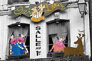 Selective colour image, Restaurant exyerior, Honfleur, photographed by Paul Williams