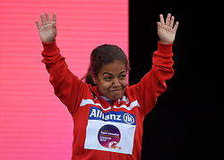 Tunisia's Raja Jebali with her bronze medal in the Women's Shot Put F40 during day four of the 2017 World Para Athletics Championships at London Stadium. PRESS ASSOCIATION Photo. Picture date: Monday July 17, 2017. See PA story ATHLETICS Para. Photo credit should read: Victoria Jones/PA Wire. RESTRICTIONS: Editorial use only. No transmission of sound or moving images and no video simulation.