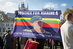 © Licensed to London News Pictures. 28/10/2016. London, UK. Former and serving members of the armed forces take part in a rally in support of support of Sgt Alexander Blackman, also known as 'Marine A', who was given a life sentence after being convicted of murdering a wounded Taliban fighter. Photo credit : Tom Nicholson/LNP