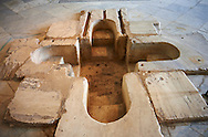 Sixth century Eastern Roman Byzantine  Christian walk in Baptismal font made from marble. The Bardo National Museum, Tunis, Tunisia