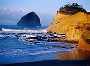 Pacific waves coming ashore at Cape Kiwanda, Oregon Coast.