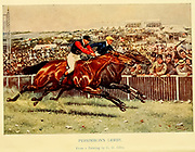Persimmon's Derby. From a Painting by G. D. Giles Frontispiece [Persimmon (1893–1908) was a British Thoroughbred race horse and sire. In a racing career that lasted from June 1895 to July 1897 he ran nine times and won seven races. His victories included the 1896 Epsom Derby] From the book ' English sport ' by Alfred Edward Thomas Watson, Published in London by Macmillan and Co. Limited and in New York by Macmillan Company. in 1903