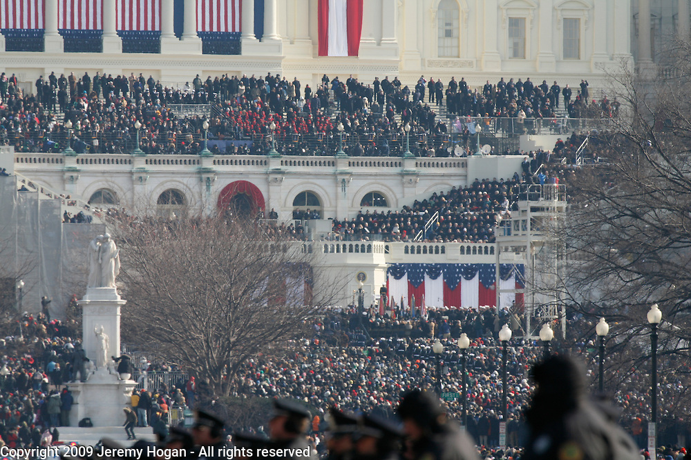 Barack Obama makes a speech at the U.S. Capitol during his inauguration.
