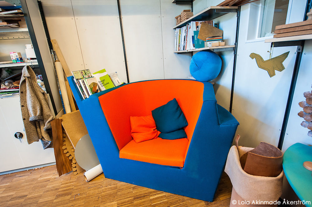 One of the chairs designed by the students.