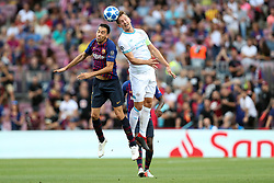 September 18, 2018 - Barcelona, Catalonia, Spain - Sergio Busquets of FC Barcelona duels for the ball with Luuk De Jong of PSV Eindhoven during the UEFA Champions League, Group B football match between FC Barcelona and PSV Eindhoven on September 18, 2018 at Camp Nou stadium in Barcelona, Spain (Credit Image: © Manuel Blondeau via ZUMA Wire)