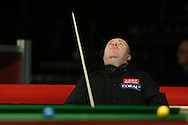 John Higgins of Scotland looks for inspiration during his 1st round match against Sam Baird of England . Coral Welsh Open Snooker 2017, day 1 at the Motorpoint Arena in Cardiff, South Wales on Monday 13th February 2017.<br /> pic by Andrew Orchard, Andrew Orchard sports photography.