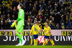 March 23, 2019 - Stockholm, SWEDEN - 190323 Emil Krafth, Andreas Granqvist and Robin Quaison of Sweden celebrate after Quaison scored 1-0 during the UEFA Euro Qualifier football match between Sweden and Romania on March 23, 2019 in Stockholm..Photo: Joel Marklund / BILDBYRÃ…N / kod JM / 87914 (Credit Image: © Joel Marklund/Bildbyran via ZUMA Press)
