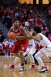 11 February 2017:  Antoine Pittman gets doubled on my Paris Lee(1) and Keyshawn Evans(3)  during a College MVC (Missouri Valley conference) mens basketball game between the Bradley Braves and Illinois State Redbirds in  Redbird Arena, Normal IL