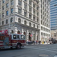 Fire trucks respond to an emergency in downtown San Francisco, California.