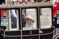 © Licensed to London News Pictures. 08/06/2019. London, UK. Queen Elizabeth II attends Trooping the Colour ceremony to mark Queen Elizabeth II's 93rd birthday. Photo credit: Ray Tang/LNP