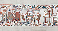Bayeux Tapestry scene 46:  Duke William id told of Harolds army arrival and a house is burnt to clear the way. BYX46 .<br /> <br /> If you prefer you can also buy from our ALAMY PHOTO LIBRARY  Collection visit : https://www.alamy.com/portfolio/paul-williams-funkystock/bayeux-tapestry-medieval-art.html  if you know the scene number you want enter BXY followed bt the scene no into the SEARCH WITHIN GALLERY box  i.e BYX 22 for scene 22)<br /> <br />  Visit our MEDIEVAL ART PHOTO COLLECTIONS for more   photos  to download or buy as prints https://funkystock.photoshelter.com/gallery-collection/Medieval-Middle-Ages-Art-Artefacts-Antiquities-Pictures-Images-of/C0000YpKXiAHnG2k