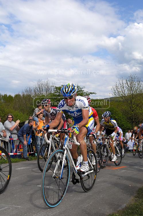 Belgium, Liege - Sunday, April 26, 2009: Vladimir Efimkin (AG2R La Mondiale) on the climb of the Côte de la Redoute during the 2009 Liege Bastogne Liege cycle race.(Image by Peter Horrell / http://peterhorrell.com)