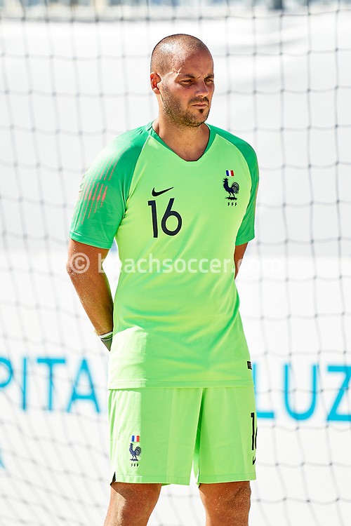 NAZARE, PORTUGAL - SEPTEMBER 3: Denis Fort of France during day 2 of the Euro Beach Soccer League Superfinal at Estadio do Viveiro on September 3, 2020 in Nazare, Portugal. (Photo by Jose Manuel Alvarez/BSWW)
