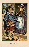 This little pig Cried Wee Wee all the way Home From the book ' A apple pie and other nursery tales : forty-eight pages of illustrations : printed in colours by Kronheim & Co ' Published by  : George Routledge and Sons 1870