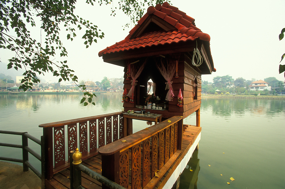 A spirit house by the Jong Kham Lake in Mae Hong Son, Thailand. April 2003.