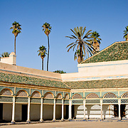Courtyard at El Bahia Palace in Marrakech. Built in the 19th century, the palace features extensive marble work and wood carving.