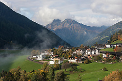 High angle view of townscape in Ulten valley (Ultental), Eastern Alps, South Tyrol, Italy