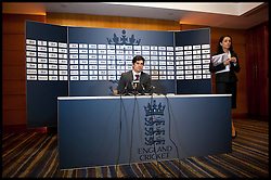 Alastair Cook  England's cricket captain during a press conference at Heathrow ahead of the team's departure for a five-match ODI series in India, Wednesday January 2, 2013. Photo: Andrew Parsons / i-Images