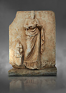 Roman Sebasteion relief  sculpture of Hygieia, Aphrodisias Museum, Aphrodisias, Turkey.  Against a grey background.<br /> <br /> Hygieia, the goddess of Health, hold a flat bowl (phiale) from which she feeds a snake. The snake is wound twice around her forearm. A plump naked child sits on a square pedestal. Hygieia was the daughter of the healing god Asklepios, with whom she is paired here .<br /> <br /> If you prefer to buy from our ALAMY STOCK LIBRARY page at https://www.alamy.com/portfolio/paul-williams-funkystock/greco-roman-sculptures.html . Type -    Aphrodisias     - into LOWER SEARCH WITHIN GALLERY box - Refine search by adding a subject, place, background colour, museum etc.<br /> <br /> Visit our ROMAN WORLD PHOTO COLLECTIONS for more photos to download or buy as wall art prints https://funkystock.photoshelter.com/gallery-collection/The-Romans-Art-Artefacts-Antiquities-Historic-Sites-Pictures-Images/C0000r2uLJJo9_s0