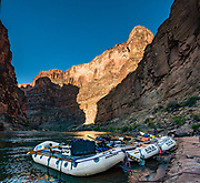 Morning at Fern Glen Camp at Colorado River Mile 168.6. Day 13 of 16 days rafting 226 miles down the Colorado River in Grand Canyon National Park, Arizona, USA. Multiple overlapping photos were stitched to make this panorama.