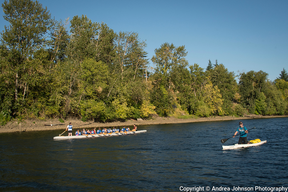 Ron Penner-Ash SUP for children's cancer benefit, Willamette River Eugene to Portland Aug 2016