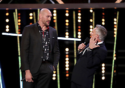 Tyson Fury (left) is interviewed on stage by Gary Lineker during the BBC Sports Personality of the Year 2018 at Birmingham Genting Arena.