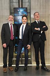 Press Conference for Mediaset Network to broadcast 2018 Russia World Cup. 22 Dec 2017 Pictured: Piersilvio Berlusconi, Marco Paolini, Stefano Sala. Photo credit: kilmax / MEGA TheMegaAgency.com +1 888 505 6342