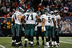 Philadelphia Eagles Offense in a huddle during the NFL game between the Philadelphia Eagles and the New York Giants on December 13th 2009. The Eagles won 45-38 at Giants Stadium in East Rutherford, New Jersey. (Photo By Brian Garfinkel)