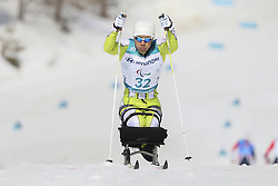 March 14, 2018 - Pyeongchang, GANGWON, SOUTH KOREA - March 14, 2018-Pyeongchang, South Korea- MA Yu Chol of North Korea action on the slope during an 2018 winter Paralympic Cross-Country Men's 1.1Km Sprint ,Sitting at Alpensia Biathlon Center in Pyeongchang, South Korea. (Credit Image: © Gmc via ZUMA Wire)