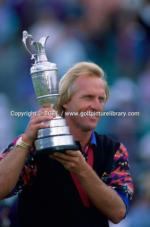 Greg NORMAN (AUS) is all smiles as he holds the famous claret jug for a second time and his second major during fourth round The Open Championship 1993,Royal St Georges,Sandwich,Kent,England.