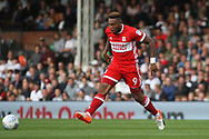 Britt Assombalonga of Middlesbrough in action. EFL Skybet championship match, Fulham v Middlesbrough at Craven Cottage in London on Saturday 23rd September 2017<br /> pic by Steffan Bowen, Andrew Orchard sports photography.