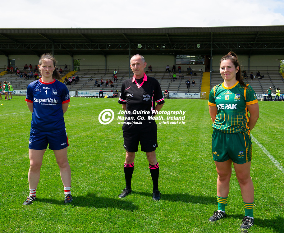 10-07-21. Meath v Cork - LGFA All-Ireland Senior Championship - Group 3 Round 1 at St. Brendan's Park, Birr.<br /> Referee John Devlin, Galway pictured with Cork team captain Martina O'Brien and Meath team captain Shauna Ennis.<br /> Photo: John Quirke / www.quirke.ie<br /> ©John Quirke Photography, 16 Proudstown Road, Navan. Co. Meath. (info@quirke.ie / 046-9028461 / 087-2579454).