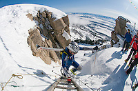 NEWS&GUIDE PHOTO / BRADLY J. BONER.Chris Kroger reaches the top of the ladder in Corbet's Couloir during the randonnee rally Saturday at Jackson Hole Mountain Resort. The race featured a new, longer course this year with more than 7,000 feet of climbing for participants.