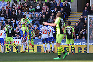 Yeovil Town's Shane Duffy (c) heads home to score his sides 1st goal during the Skybet championship match, Reading v Yeovil Town at the Madejski Stadium in Reading, Berkshire on Saturday 1st March 2014.<br /> pic by Jeff Thomas, Andrew Orchard sports photography.