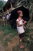 A young Karen Longneck girl in a refugee camp near Mae Hongson, Thailand.