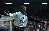 Picture: Henry Browne.<br /> Date: 28/02/2004.<br /> Fulham v Manchester United FA Barclaycard Premiership.<br /> <br /> Luis Boa Morte celebrates his equaliser for Fulham.<br /> <br /> NORWAY ONLY