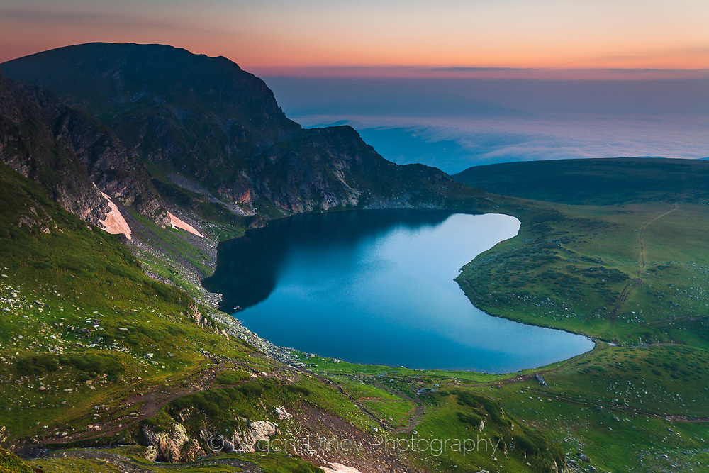 Lake in a shape of kidney in Rila Mountains