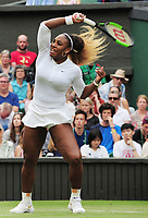 Tennis - 2019 Wimbledon Championships - Week One, Saturday (Day Six)<br /> <br /> Mixed Doubles, 1st Round <br /> Andy Murray (GBR) and Serena Williams (USA) v Andreas Mies (GER) v Alexa Guarachi (CHI)<br /> <br /> Serena Williams (USA)  on Centre Court <br /> <br /> COLORSPORT/ANDREW COWIE