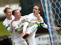 14/02/15 SCOTTISH PREMIERSHIP<br /> ST JOHNSTONE v CELTIC<br /> MCDIARMID PARK - PERTH<br /> Celtic's Stefan Johansen (right) celebrates with team-mates Gary Mackay-Steven (left) and Leigh Griffiths after scoring his side's second goal