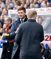 Football - 2019 / 2020 Ladbrokes Scottish Premiership - Rangers vs. Celtic<br /> <br /> Rangers manager Steven Gerrard and Celtic manager Neil Lennon embrace before kick off, at Ibrox Stadium.<br /> <br /> COLORSPORT/BRUCE WHITE